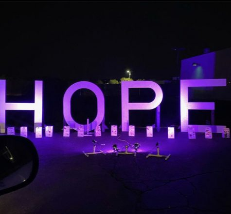 Drive-through Luminaria for Cancer survivors hosted at the Hello Auto in Valencia.