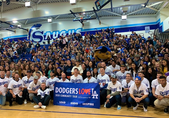 The Los Angeles Dodgers win the World Series. Earlier in the year, the Dodgers visited Saugus High School.