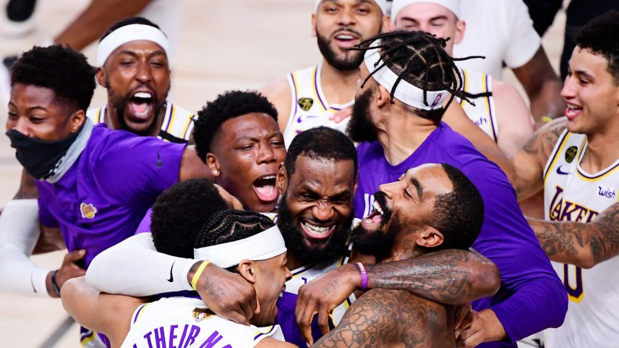 Los Angeles Lakers Celebrate their Championship Win on the Court