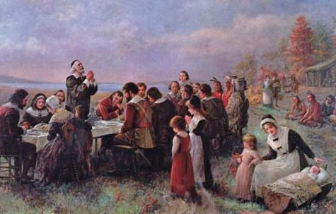 Painting depicting the first Thanksgiving in 1621 by Pilgrims in Plymouth