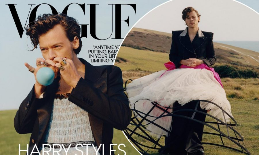 Harry Styles on the cover of Vogue Magazine, a shoot that prompted controversy over freedom of expression