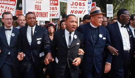 Leaders of March on Washington for Jobs & Freedom marching w. signs (R-L) Rabbi Joachim Prinz, unident., Eugene Carson Blake, Martin Luther King, Floyd McKissick, Matthew Ahmann & John Lewis.  (Photo by Robert W. Kelley/The LIFE Picture Collection via Getty Images)