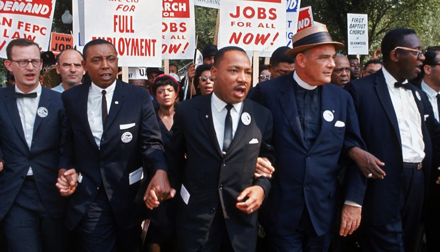 Leaders+of+March+on+Washington+for+Jobs+%26amp%3B+Freedom+marching+w.+signs+%28R-L%29+Rabbi+Joachim+Prinz%2C+unident.%2C+Eugene+Carson+Blake%2C+Martin+Luther+King%2C+Floyd+McKissick%2C+Matthew+Ahmann+%26amp%3B+John+Lewis.++%28Photo+by+Robert+W.+Kelley%2FThe+LIFE+Picture+Collection+via+Getty+Images%29