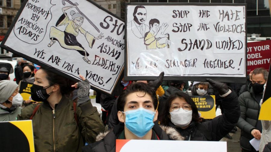 Hundreds gathered in New York City to protest the rise in racism against the Asian community that has been fueled by the coronavirus pandemic.