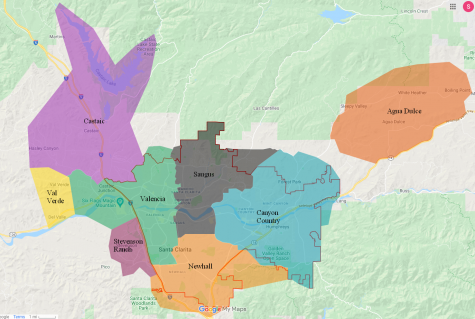 This map outlines the borders of the neighborhoods in Santa Clarita.
